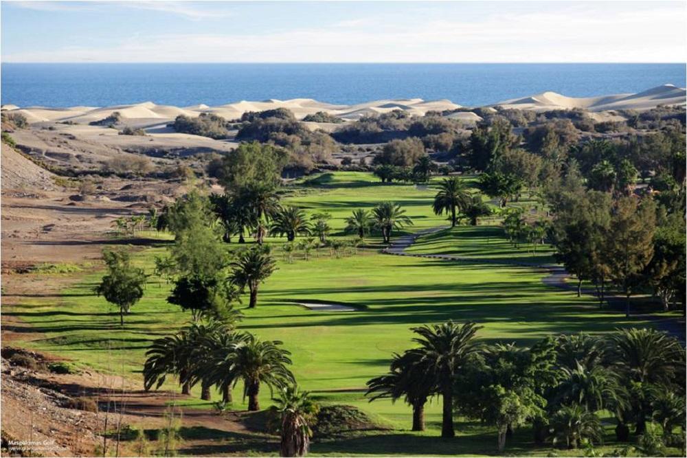 La vue aérienne du golf de Maspalomas.
