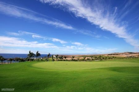 Large green et palmiers sur le golf Lopesan