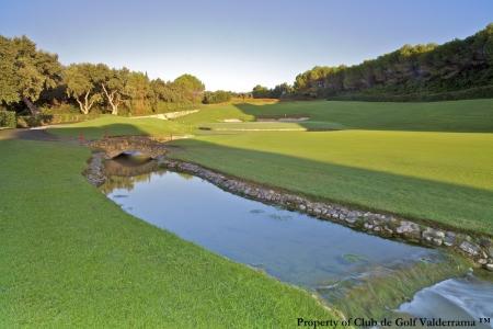 Ruisseau amenant au green sur le golf de Valderrama