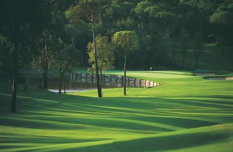 Les arbres et le fairway du  golf le PGA Catalunya Stadium Course.