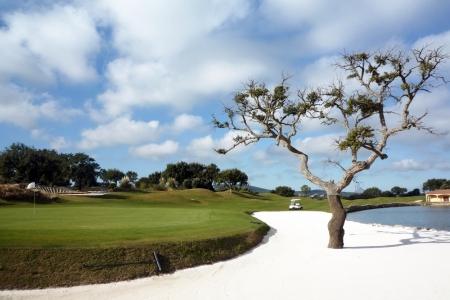 Bunker de sable blanc et green sur le golf de San Roque