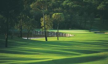 Green et obstacle d'eau sur le parcours Stadium du PGA Catalunya