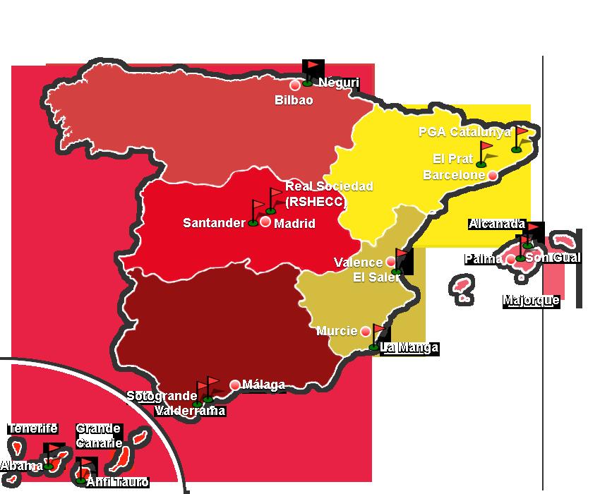 Carte Avec Les Regions Des Parcours De Golf En Espagne